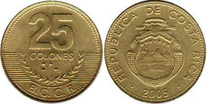 coin Costa Rica 25 colones 2005