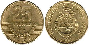 coin Costa Rica 25 colones 2007