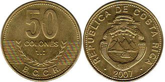 coin Costa Rica 50 colones 2007