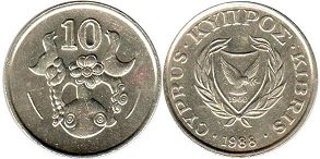 coin Cyprus 10 cents 1988