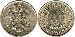 coin Cyprus 10 cents 1998