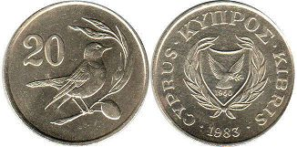 coin Cyprus 20 cents 1983