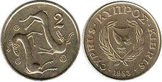 coin Cyprus 2 cents 1985