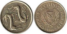 coin Cyprus 2 cents 1988