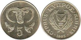 coin Cyprus 5 cents 1983