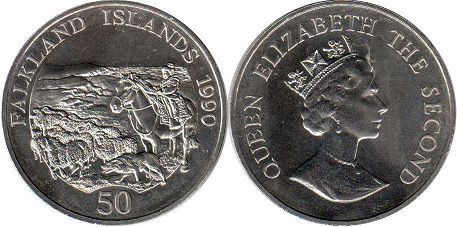 coin Falkland Islands 50 pence 1990