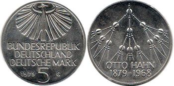 coin Germany 5 mark 1979 Otto Hanh