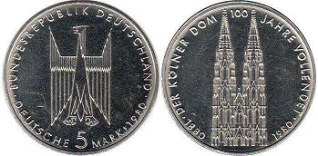 coin Germany BDR 5 mark 1980