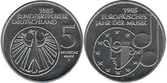 coin Germany BDR 5 mark 1985