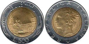 coin Italy 500 lire 1990