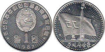 coin Korea North 1 won 1987