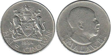 coin Malawi 1/2 crown 1964