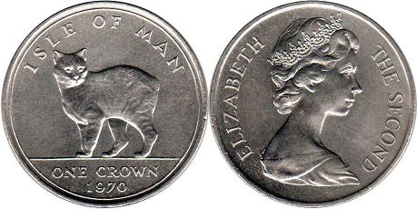 coin Isle of Man one crown 1970
