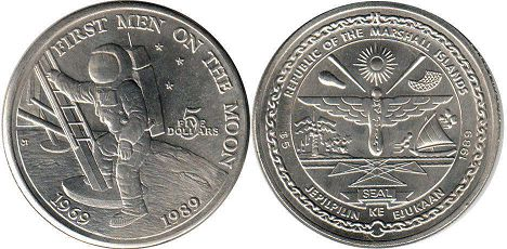 coin Marshall Islands 5 dollars 1989