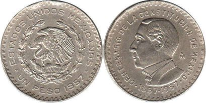 coin Mexico 1 peso 1957 Constitution