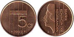 coin Netherlands 5 cents 1992
