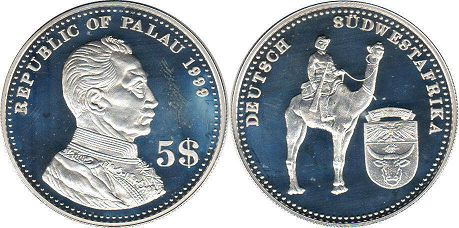 coin Palau 5 dollars 1999