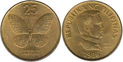 coin Philippines 25 centimos 1986
