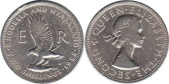 coin Rhodesia and Nyasaland 2 shillings 1955
