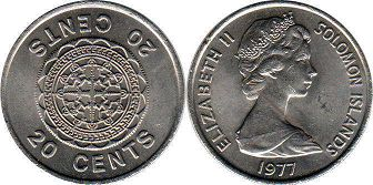 coin Solomon Islands 20 cents 1977