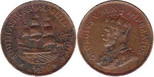 old coin South Africa 1/2 penny 1936
