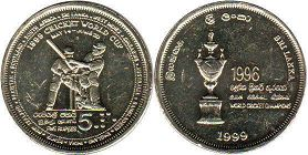 coin Sri Lanca 5 rupee 1999 Cricket