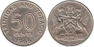 coin Trinidad and Tobago 50 cents 1966