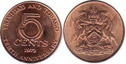 coin Trinidad and Tobago 5 cents 1972 10th Anniversary