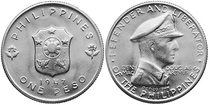 coin Philippines 1 peso 1947