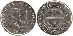 coin Philippines 1 piso 2001