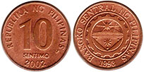 coin Philippines 10 centimos 2002