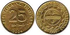 coin Philippines 25 centimos 2004