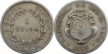 coin Costa Rica 1 colon 1935
