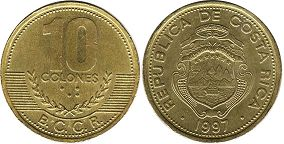 coin Costa Rica 10 colones 1997