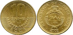 coin Costa Rica 10 colones 2002