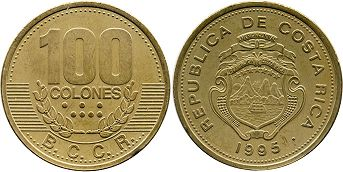 coin Costa Rica 100 colones 1995