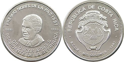 coin Costa Rica 1000 colones 1987