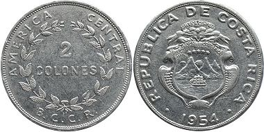 coin Costa Rica 2 colones 1954