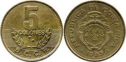 coin Costa Rica 5 colones 1995