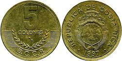 coin Costa Rica 5 colones 1997