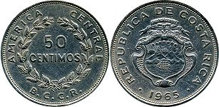 coin Costa Rica 50 centimos 1965
