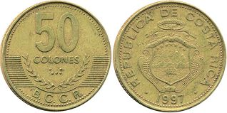 coin Costa Rica 50 colones 1997