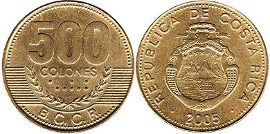 coin Costa Rica 500 colones 2005