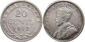coin Newfoundland 20 cents 1912