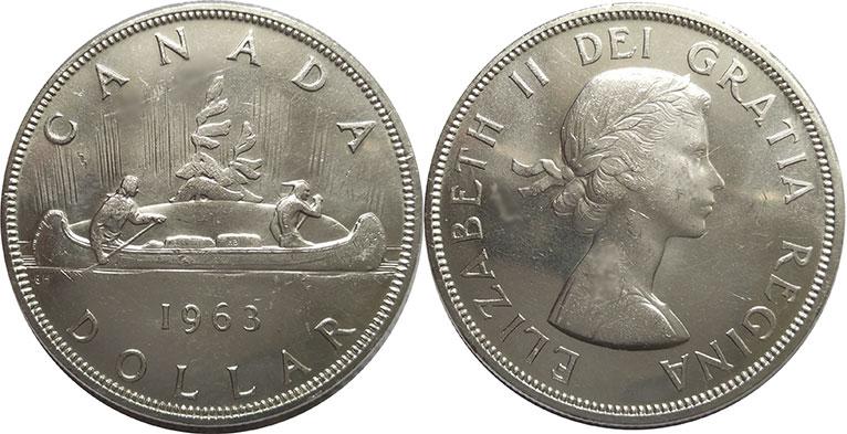 0.800 Silver Coin AU with Cameo-Lustre /& Elizabeth II Canada 1965 ONE DOLLAR