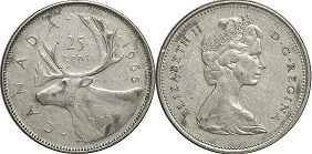 canadian coin 25 cents 1965 silver