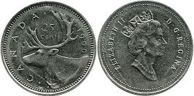 canadian coin 25 cents 1990