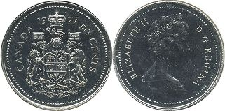 canadian coin 50 cents 1977
