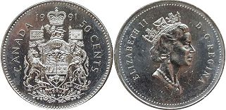 canadian coin 50 cents 1991