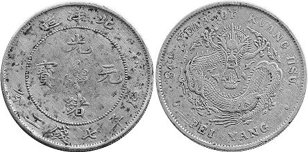 coin chinese silver dollar 1908